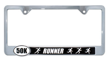 Ultra Marathon 50 k Runners License Plate Frame