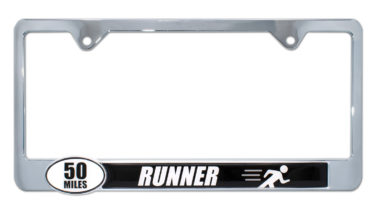 Ultra Marathon 50 Miles Runner License Plate Frame