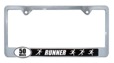 Ultra Marathon 50 Miles Runners License Plate Frame