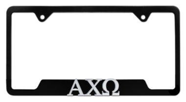 Alpha Chi Omega Sorority Black Chrome Open License Plate Frame