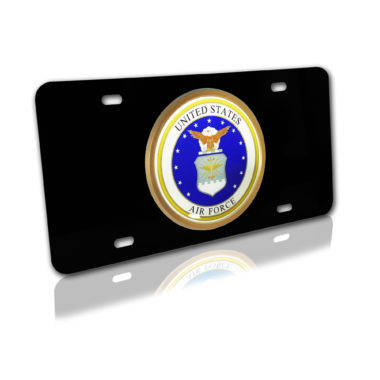 Air Force Seal on Black License Plate image