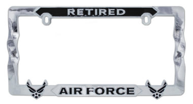 Air Force Retired 3D Black License Plate Frame
