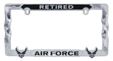 Air Force Retired 3D Black License Plate Frame