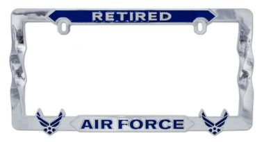 Air Force Retired Blue 3D License Plate Frame