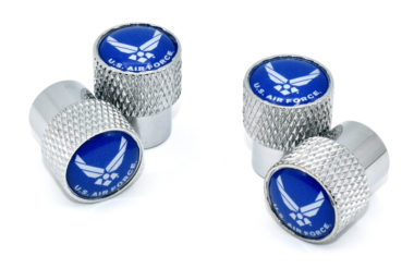 Air Force Valve Stem Caps - Chrome Knurling