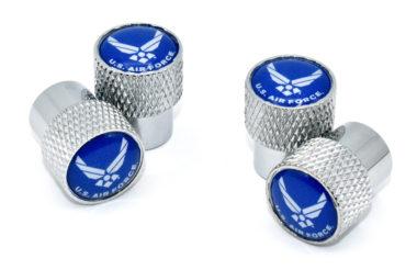 Air Force Valve Stem Caps - Chrome Knurling