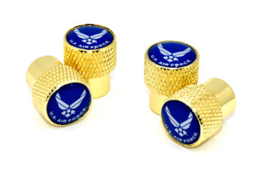 Air Force Valve Stem Caps - Gold Knurling