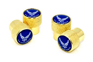 Air Force Valve Stem Caps - Gold Knurling