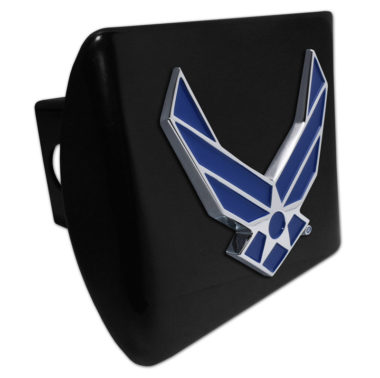 Air Force Wings Blue Emblem on Black Hitch Cover