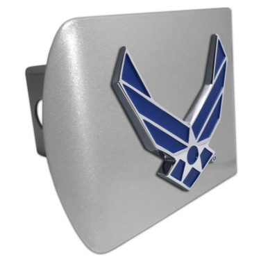 Air Force Wings Blue Emblem on Brushed Hitch Cover