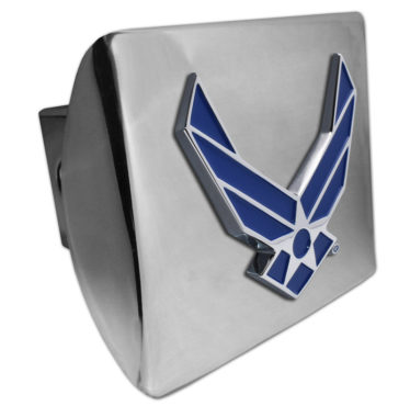 Air Force Wings Blue Emblem on Chrome Hitch Cover