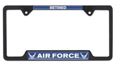 Full-Color Air Force Retired Black Open License Plate Frame image