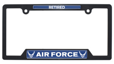 Full-Color Air Force Retired Black Plastic Open License Plate Frame