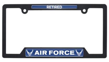 Full-Color Air Force Retired Black Plastic Open License Plate Frame image