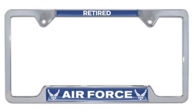 Full-Color Air Force Retired Open License Plate Frame image