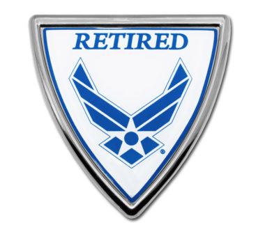 Air Force Retired Shield Chrome Emblem