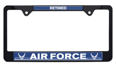 Full-Color Air Force Retired Black License Plate Frame