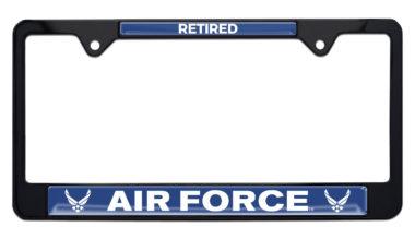 Full-Color Air Force Retired Black License Plate Frame image