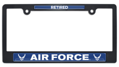 Full-Color Air Force Retired Black Plastic License Plate Frame