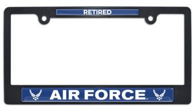 Full-Color Air Force Retired Black Plastic License Plate Frame image