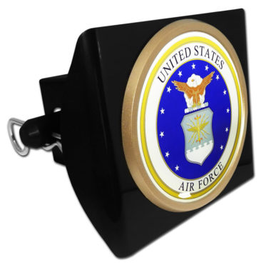 Air Force Seal Emblem on Black Plastic Hitch Cover
