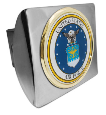 Air Force Seal Emblem on Chrome Hitch Cover