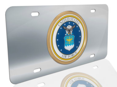 Air Force Seal on Stainless Steel License Plate