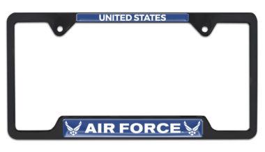 Full-Color US Air Force Black Open License Plate Frame