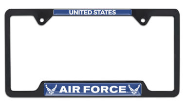 Full-Color US Air Force Black Open License Plate Frame image