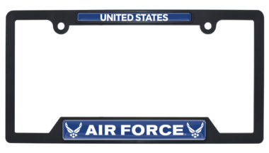 Full-Color US Air Force Black Plastic Open License Plate Frame