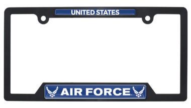 Full-Color US Air Force Black Plastic Open License Plate Frame