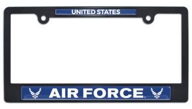 Full-Color US Air Force Black Plastic License Plate Frame image