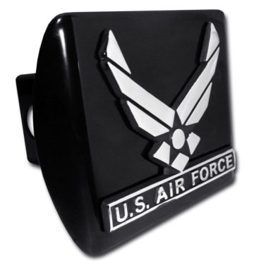 Air Force Wings Emblem on Black Hitch Cover image