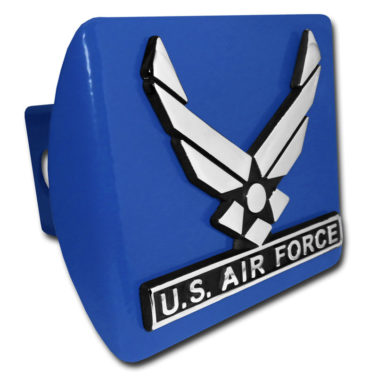 Air Force Wings Emblem on Blue Hitch Cover