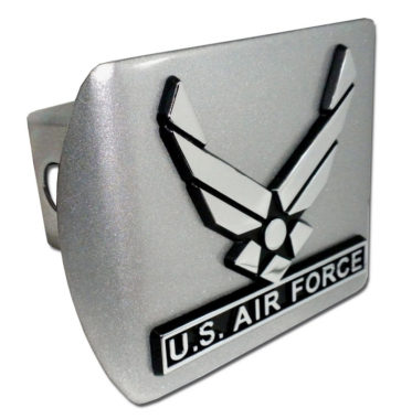 Air Force Wings Emblem on Brushed Hitch Cover