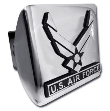 Air Force Wings Emblem on Chrome Hitch Cover
