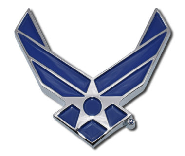 Air Force Wings Blue Chrome Emblem