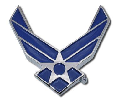 Air Force Wings Blue Chrome Emblem