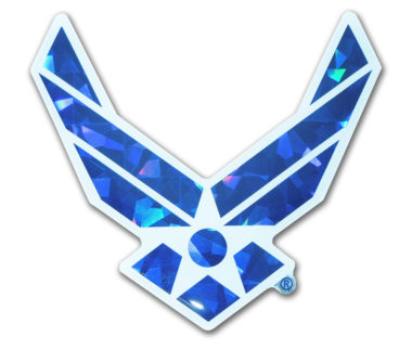 Air Force Wings Blue 3D Reflective Decal image