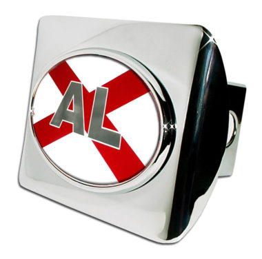 Alabama Flag Emblem on Chrome Hitch Cover