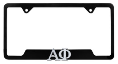 Alpha Phi Sorority Black Open License Plate Frame