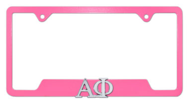Alpha Phi Sorority Pink Open License Plate Frame