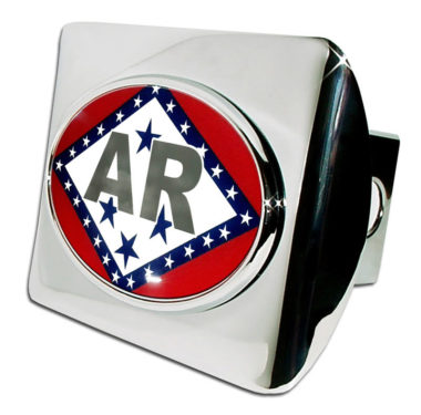 Arkansas Flag Emblem on Chrome Hitch Cover