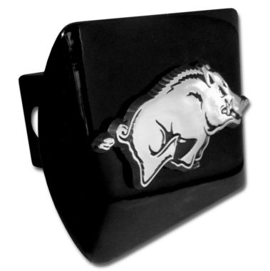 Arkansas Running Hog Emblem on Black Hitch Cover