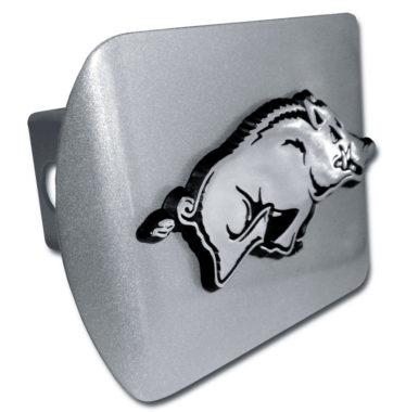 Arkansas Running Hog Brushed Chrome Hitch Cover