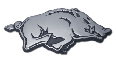 Arkansas Running Hog Chrome Emblem