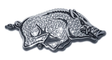 Arkansas Running Hog Crystal Chrome Emblem