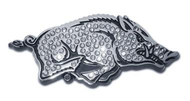 Arkansas Running Hog Crystal Chrome Emblem