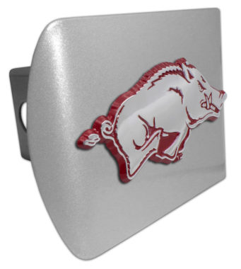 University of Arkansas Running Hog Red Emblem on Brushed Hitch Cover