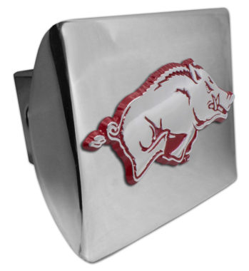 Arkansas Running Hog Red Emblem on Chrome Hitch Cover